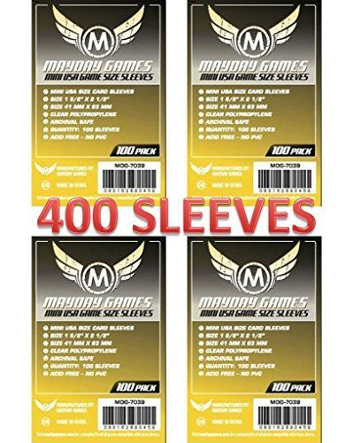 (Mayday Games 7039 Clear Sleeves 41x63mm Mini USA Size (4x100 Pack, 400 sleeves))