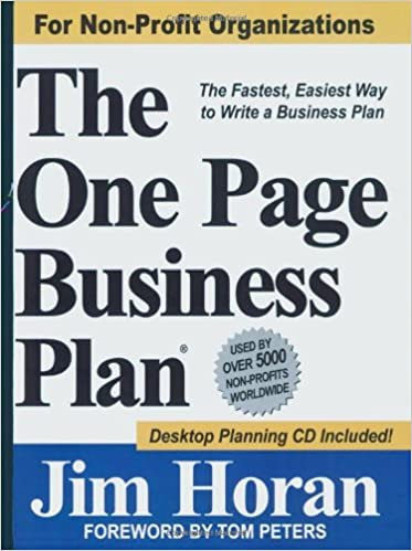 Amazoncom The One Page Business Plan For NonProfit - Non profit organization business plan template