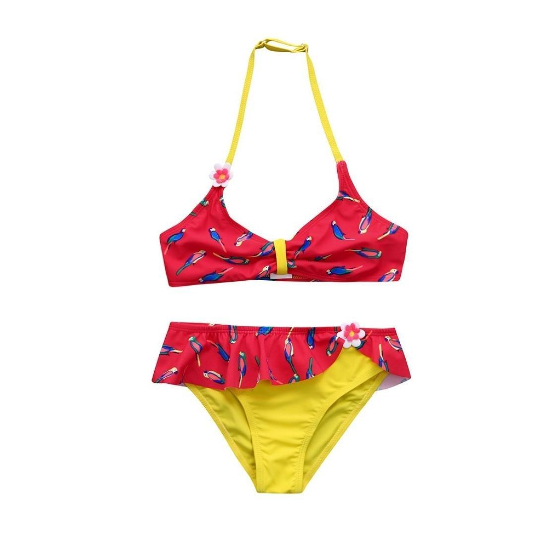 Infant Kids Girls Adjustable Strap Floral Ruched Swimwear High Waist Beach Swimsuit Bikini Bathing Suit Set Aritone