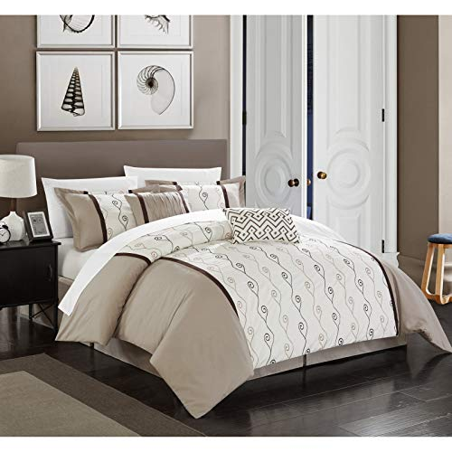 - Chic Home Priston 6 Piece Comforter Set Color Block Embroidered Bedding - Bed Skirt Decorative Pillows Shams Included King Beige