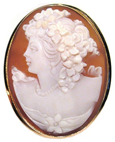 Cameo Brooch Pendant Summer Dream Master Carved, Solid 14k Yellow Gold Sardonyx Shell Italian