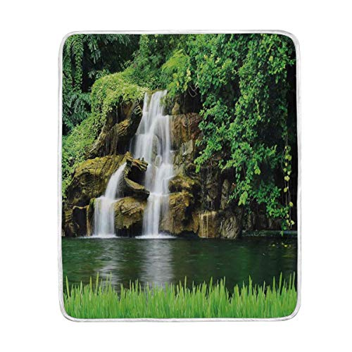 Camp Twin Lakes Halloween (CHASOEA Throw Blanket,Double Waterfalls Flow to Natural Green Lake with Bushes and Grass Like Garden Print,Microfiber All Season Bed Couch,50
