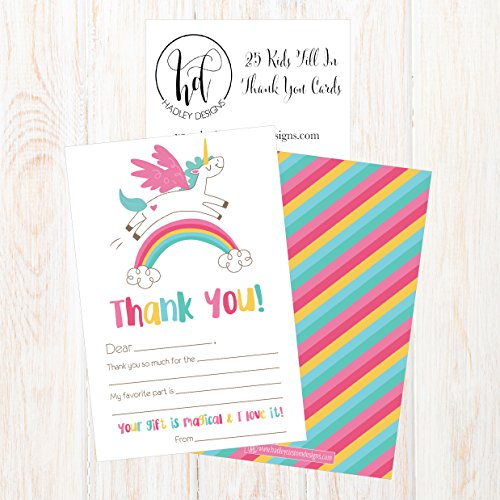 25 Unicorn Kids Thank You Cards, Fill In Thank You Notes For Kid, Blank Personalized Thank Yous For Birthday Gifts, Stationery For Children Boys and Girls Photo #2