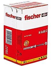 Fischer 50355, Het inslaganker met verzonken schroef is ideaal voor het bevestigen van houten constructies binnenshuis en voor kabel- en buisklemmen in alle bouwmaterialen, standaard, 6x60/30 S