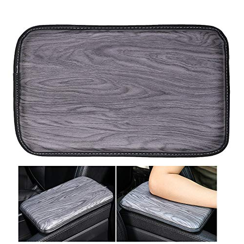 Forala Auto Center Console Pad PU Leather Car Armrest Seat Box Cover Protector Universal Fit (Gray-Wood Grain)