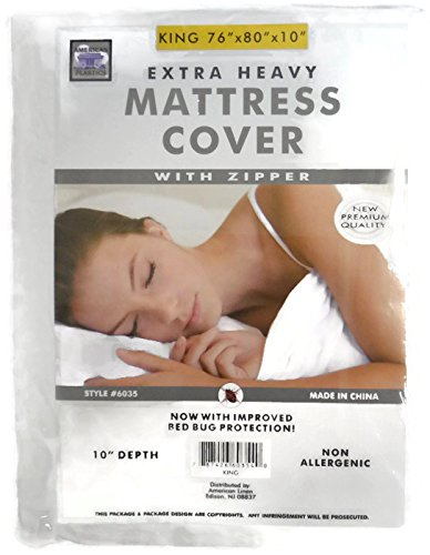 King Size Zippered Mattress Cover Non Allergenic Bed Bug Protection 10 Inches Deep (King)