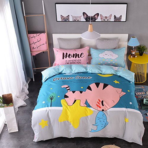 WarmGo 3 Piece Bedding Set Cute Star Cat Kiss Fish Duvet Covet Set Twin Size with 1 Piece Personality Pillowshams 100% Cotton-Not Include Comforter