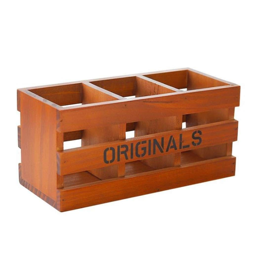 File Shelf Wooden - File Holder Racks, File Organi Desk Organiser, Wood Pen Cup Multifunction Makeup Brush Hallow Desktop Storage Box Organiser for Office Supplies Stationery Home Cosmetics Remote Con by YCYG