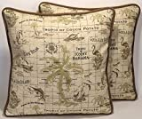 "A set of 2 18"" Handmade Tommy Bahama Palm Tree Outdoor Fabric Island Song Rattan Tan Decorative Throw Pillows and Forms"