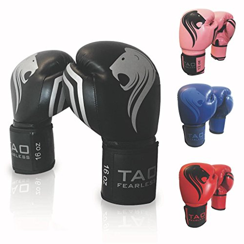 TAO Boxing Gloves Professional Fight Bag Gloves (Black, 16 OZ)