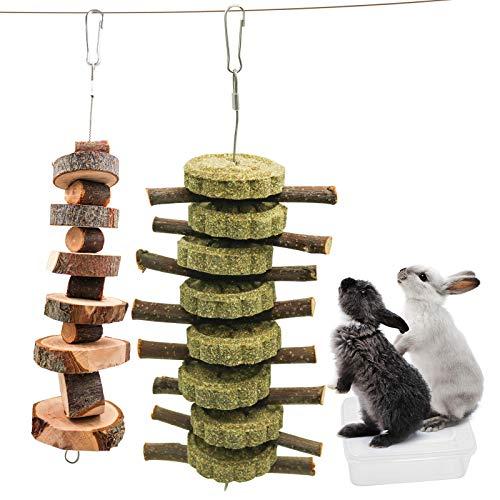 Kleintiere Kauspielzeug, Kaninchen Hamster Kauenspielzeug, Natürliches Apfelholz Kauen Stöcke mit Graskuchen Bio-Apfelstäbchen Graskugel, Zahnpflege Snacks für Hasen, Chinchilla, Meerschweinchen (H02)