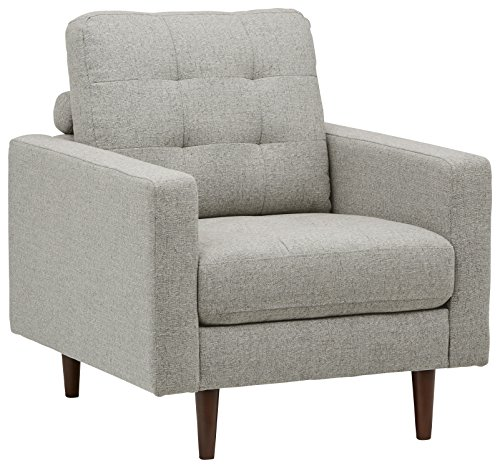 Rivet Cove Mid-Century Tufted Accent Chair, Light Grey For Sale