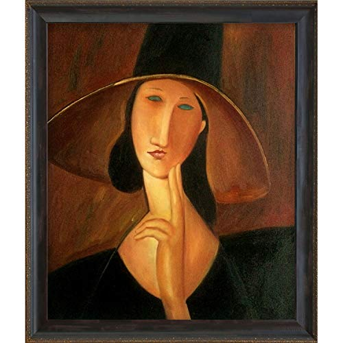 (overstockArt Portrait of Woman in Hat, Jeanne Hebuterne in Large Hat 1917 Oil Painting by Modigliani)