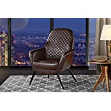Accent Chair for Living Room, Faux Leather Arm Chair with Diamond Stitch Detailing and Natural Wooden Legs (Dark Brown)