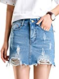 Beluring Womens Denim Jean Skirt Ripped Short Bodycon Pencil Cute Skirt Light Blue Size 12W