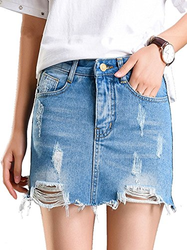 Beluring Womens Denim Jean Skirt Ripped Short Bodycon Pencil Cute Skirt Light Blue Size (Denim Jean Skirt)