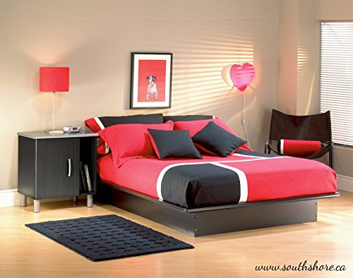 South Shore Basic Collection Platform Bed with Moulding - Queen Size - Black - Contemporary Design - by - bedroomdesign.us