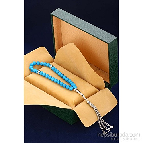 GloBeads Prayer Beads Turkish Gemstone Tasbih Gift, Male Turquoise.20Hdr180 (Turquoise Plastic Pendant)