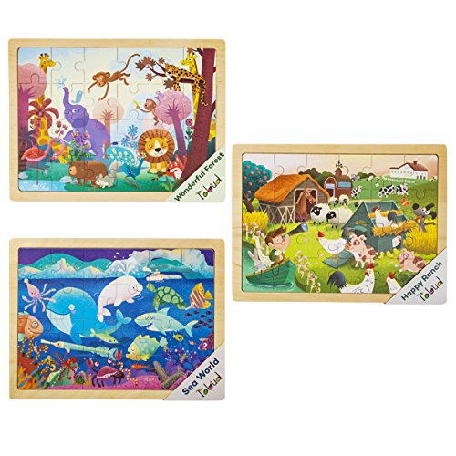 ROBOTIME Wooden Jigsaw Puzzle Set with Storage Tray - 3 Sets Baby Puzzle Games - Pre-Kindergarten Toys for Kids Age 1 2 3 (Forest, Ranch, Sea ()