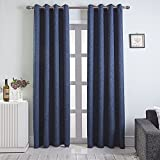 Cheap Lambary Darkening Grommet Drapes Solid Burlap Faux Linen Curtain with Thermal Insulated Blackout For Bedroom, Navy Blue (1 pair, 52in. X 84in.)
