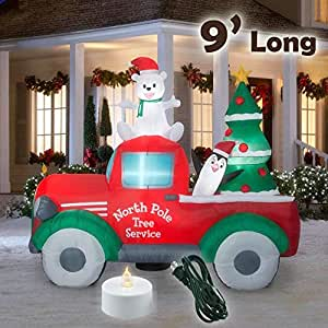 Yardds Inflatable Polar Bear Santa Truck Christmas Outdoor Inflatables - 9 Ft Long Decorations
