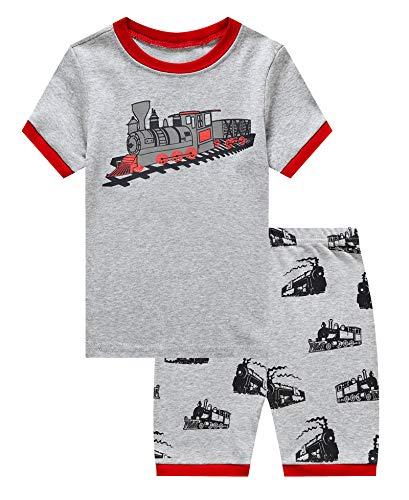 KikizYe Little Boys Train Summer Pajamas Short Sets 100% Cotton Toddler Kid 2T