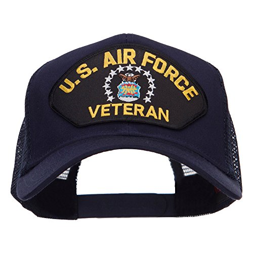 (e4Hats.com US Air Force Veteran Military Patched Mesh Cap - Navy OSFM)