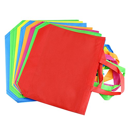 "Amersumer 18Pack 13""Party Gift Tote Bags,Polyester Non-Woven Material,Assorted Colorful Blank Canvas Bags,Rainbow Colors With Handles For Birthday Favors, Snacks,Delivery Bag,Rainbow tote bag."