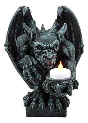 "Ebros Squatting Gothic Gargoyle Candle Holder Castle Butler Guardian Servant Tea Light Candleholder Figurine 8.5""H"