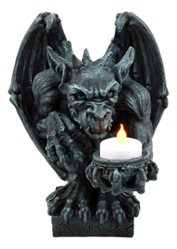 - Ebros Squatting Gothic Gargoyle Candle Holder Castle Butler Guardian Servant Tea Light Candleholder Figurine 8.5