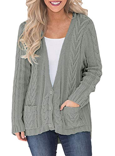 Women's Vintage Oversized Carigan Long Sleeve Cable Knit Sweater with Pockets Grey L