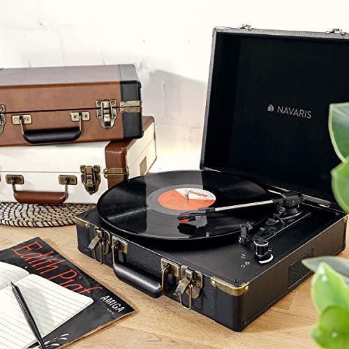 USB Port zum Digitalisieren Vintage Schallplatten Spieler Schwarz-Schwarz 35,5x11,5x27,5cm Navaris Retro Koffer Plattenspieler mit Lautsprecher
