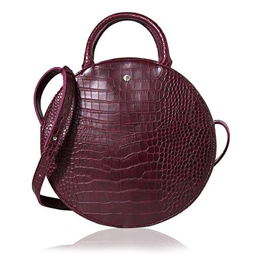 The Lovely Tote Co. Women's Fashion Crocodile Circle Crossbody Bag