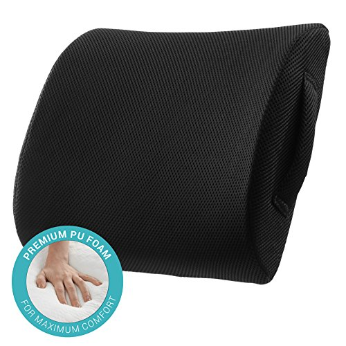 ComfySure Lumbar Support Seat Back Cushion – Memory Foam with Removable Mesh Cover – Lower Back Pain Aid, Helps Posture – Fits Most Workplace, Desk, Computer Chairs and Car Seats – DiZiSports Store
