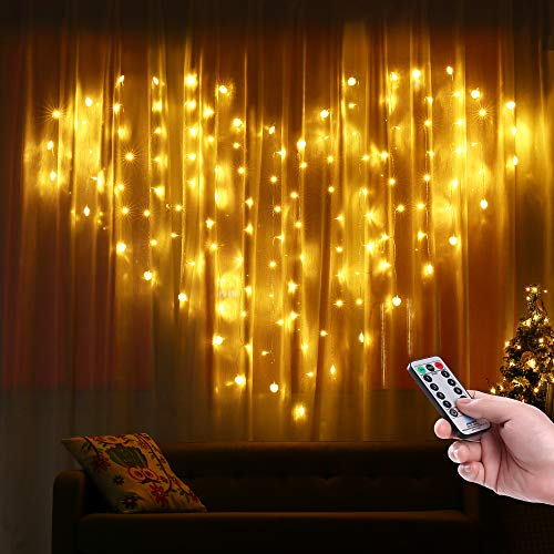 Lyhope Heart Shape Curtain Lights - 124 LED 8 Modes Twinkle String Lights with UL Adapter, Romantic Curtain Lights for Bedroom, Wedding, Valentine, Wall Backdrop and More (Warm White)