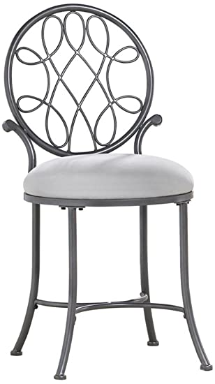 Amazon.com: Hillsdale O\'Malley Vanity Stool, Gray: Kitchen & Dining