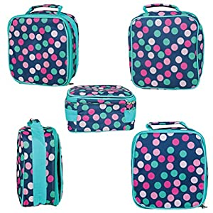 Teal Navy Party Polka Dot Water Resistant Zipper Closure Insulated Soft Cooler Lunch Bag