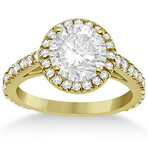 (Cathedral Halo Pave Diamond Engagement Ring Setting for Women 18K Yellow Gold 0.72cw )