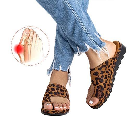 (Chenghe Women's Flip Flop Wedge Sandal Comfort Open Toe Thong Slid Slippers Summer Beach Travel Sandal Shoes Leopard US 6)