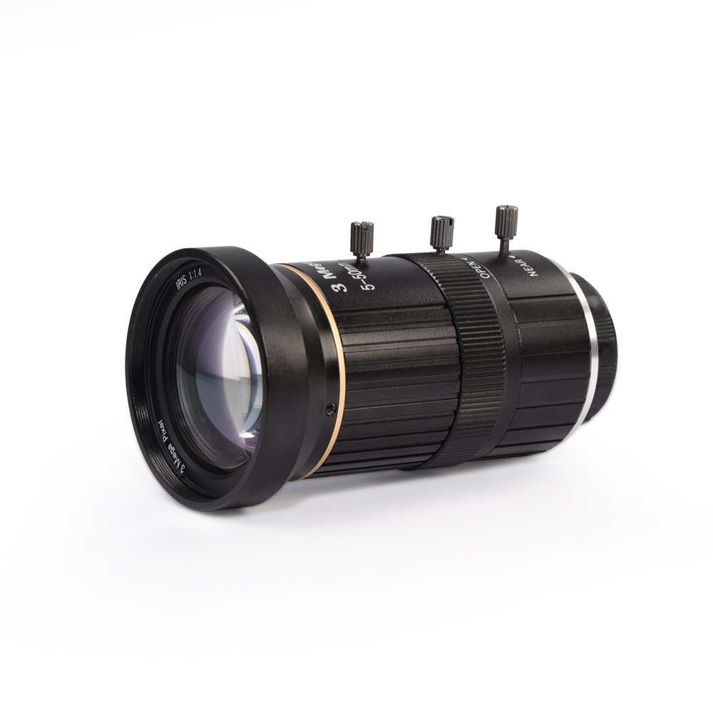 MOKOSE HD CCTV Telephoto Zoom Camera Manual Lens 5-50mm 1/2.7'' 3 Mega Pixel IR F1.4 CS Mount Varifocal