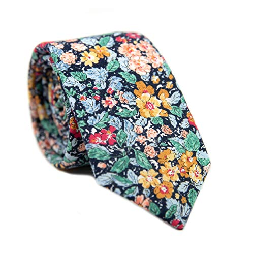 (DAZI Men's Skinny Tie Floral Print Cotton Necktie, Great for Weddings, Groom, Groomsmen, Missions, Dances, Gifts. (Electric Feel))