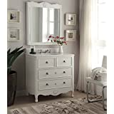 34u201d cottage look daleville bathroom sink vanity u0026 mirror set hf081awmir antique white