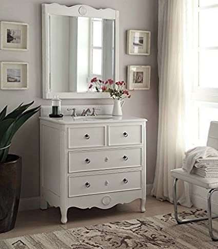 34u201d Cottage Look Daleville Bathroom Sink Vanity U0026 Mirror Set   HF 081AW