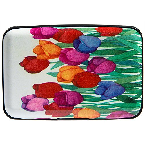 Vichline Aluminum RFID Blocking Slim Metal Wallet Credit Card Holder for Men Women (Multicolored Tulips)