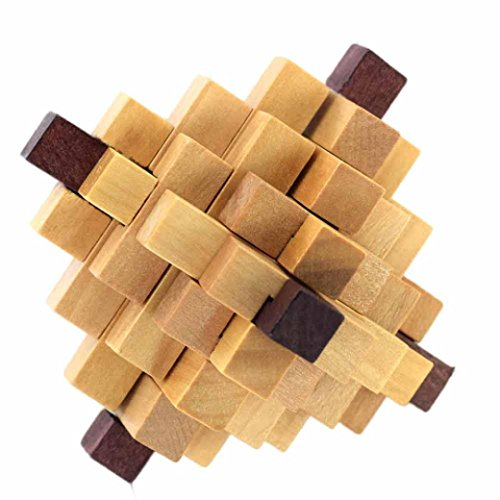 Leegor New 3D Wooden Puzzle Toys IQ Brain Teaser Adults Educational Kids Puzzles Kong Ming lock development toys Xmas Gifts (C) (Think Green Tag)