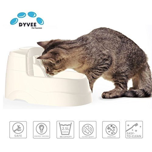 Cat Drinking Fountain, Dog Water Dispenser, Quiet Pet Electric Drinking Bowl,Healthy and Hygienic Automatic Waterfall Drinking Waterer With 5Pcs Water Filters and 2.5L (0.66 gal) Capacity