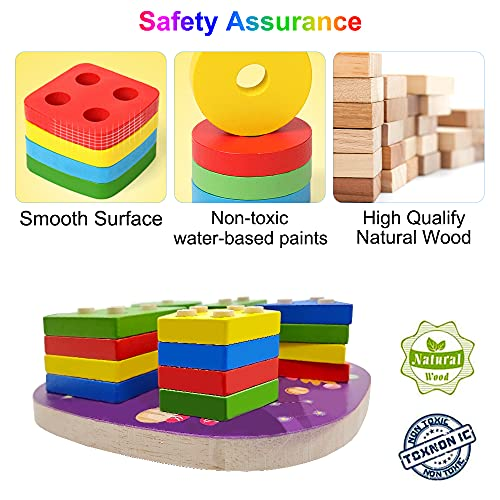 Montessori Baby Toys for 2 3 4 Year Old, Wooden Space Stacking Sorting Toddler Toys, Geometric Shape Building Blocks Educational Learning Toy, Color Shape Recognition Games for Baby Boys Girls