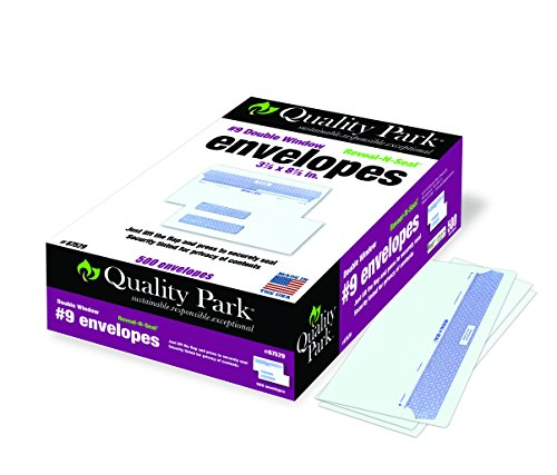 Quality Park Reveal-N-Seal Double Window Envelope, #9, 3-7/8 inches x 8-7/8 inches, White, 500 Envelopes (67529)