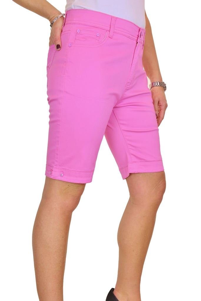 ICE (1515-6) Diamante Stretch Jeans Style Shorts Chino Sheen Pink (20)