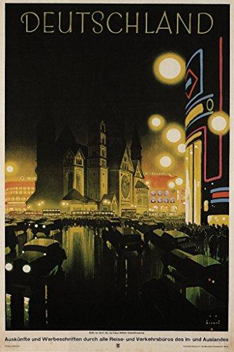 Deutschland Germany Vintage Travel Art Print Poster 12x18 inch - German Vintage Poster